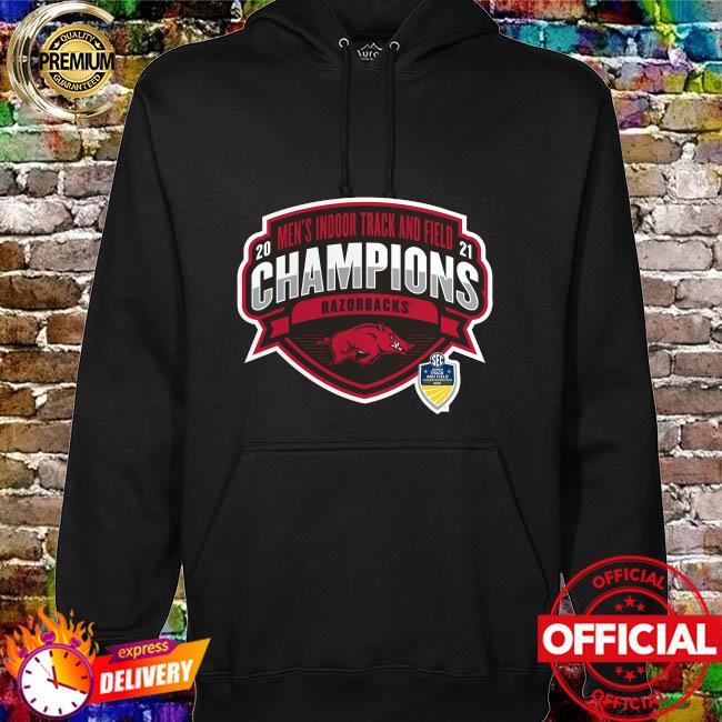 Arkansas Razorbacks 2021 sec men's indoor track and field conference champions hoodie
