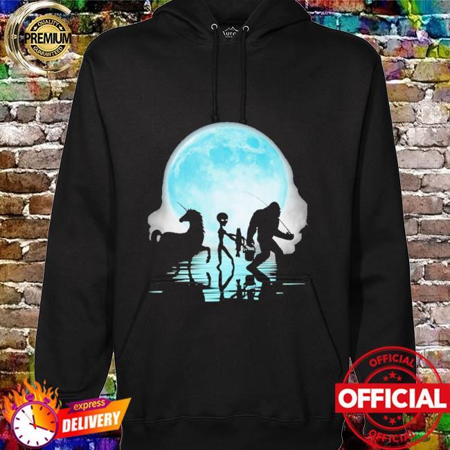 Bigfoot goes fishing with alien and unicorn mom hoodie
