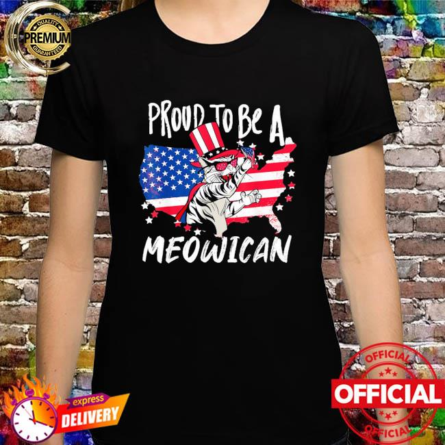 Proud to be as Meowican Cat 4th Of July American flag shirt