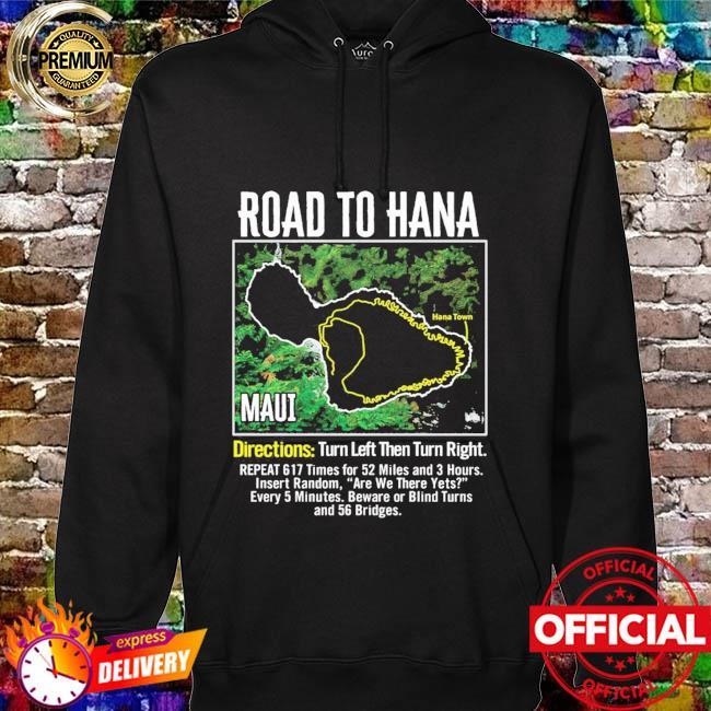 Road to hana map maui island guide hawaii hawaiian hoodie