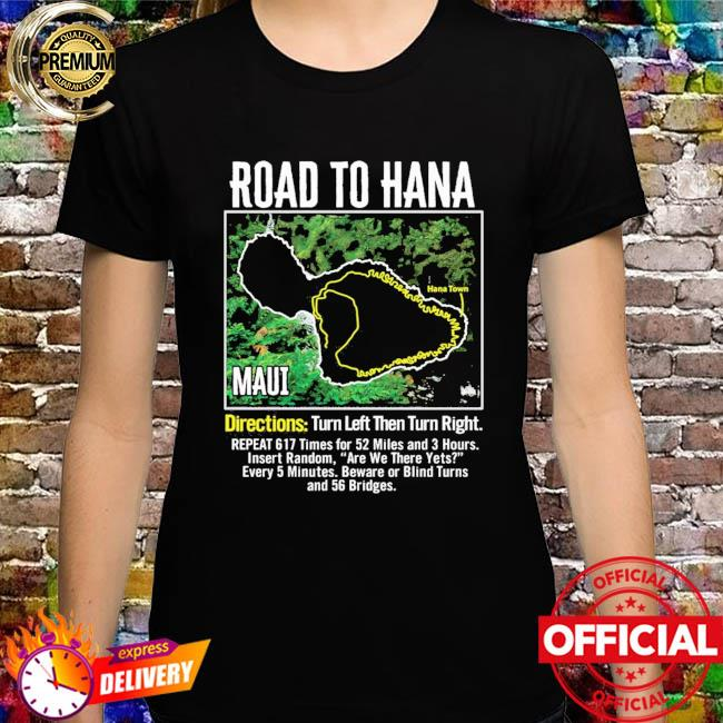 Road to hana map maui island guide hawaii hawaiian shirt
