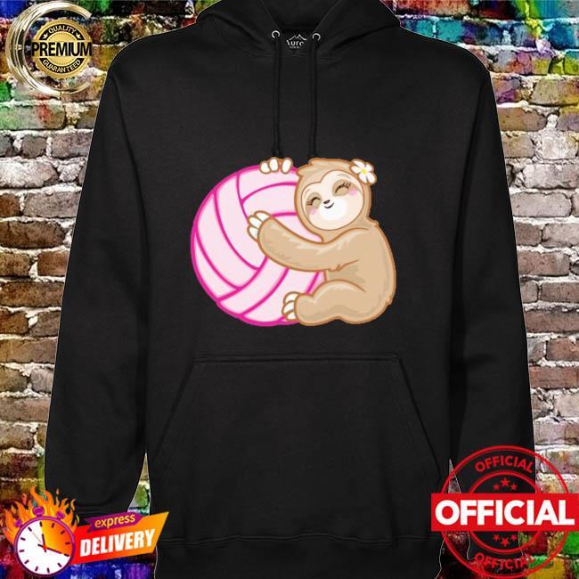 Volleyball sloth hug pink ball hoodie
