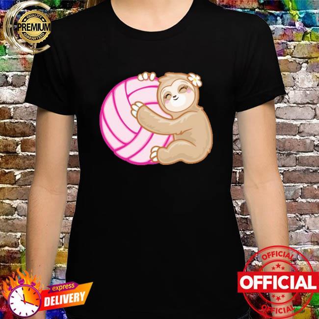 Volleyball sloth hug pink ball shirt