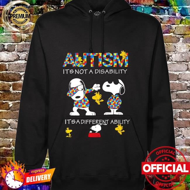 Dabbing Snoopy Autism it's not a disability it's a different ability hoodie