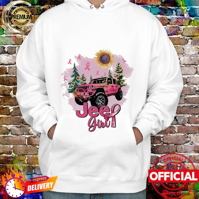 Sunflower and Jeep Girl Breast Cancer hoodie