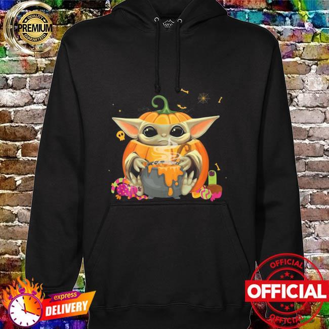 Baby Yoda Pumpkin Hug Cake Candy Halloween Shirt hoodie