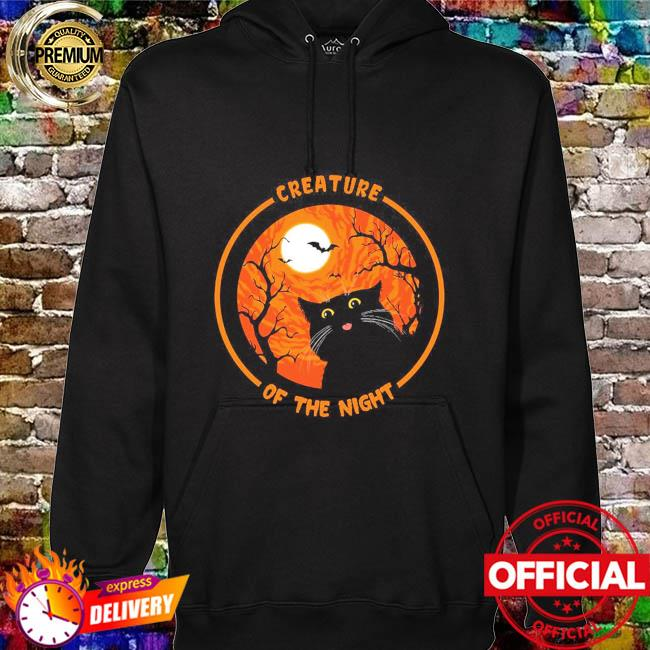 Black Cat creature of the night Halloween Moon hoodie