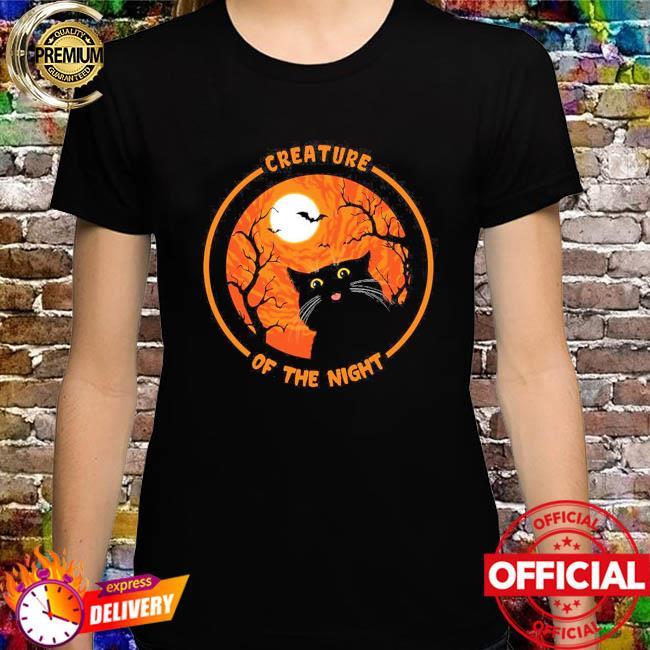 Black Cat creature of the night Halloween Moon shirt