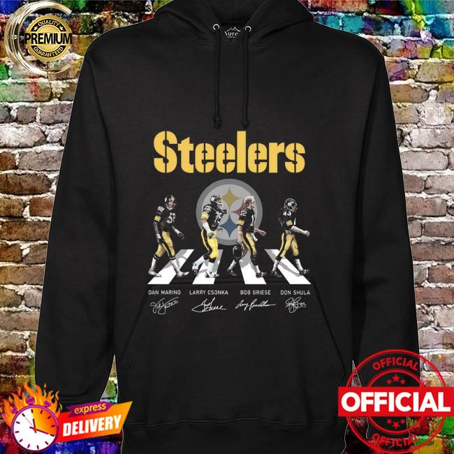 Pittsburgh Steelers With Dan Marino Larry Csonka Bob Griese And Don Shula Abbey Road Signatures Shirt hoodie