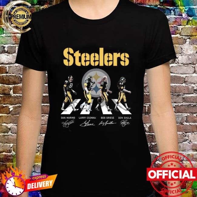 Pittsburgh Steelers With Dan Marino Larry Csonka Bob Griese And Don Shula Abbey Road Signatures Shirt