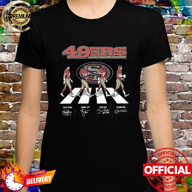 San Francisco 49ers With Young Lott Rice And Montana Abbey Road Signatures Shirt