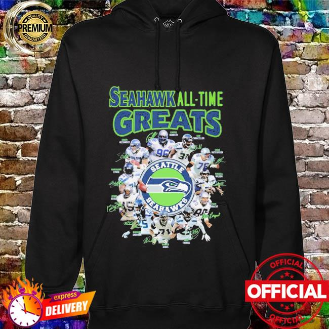 Seattle Seahawks all-time greats signatures hoodie