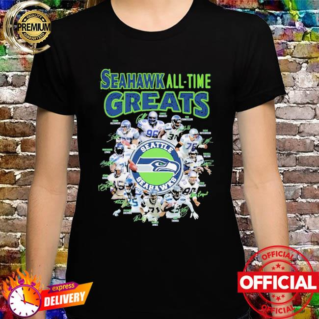 Seattle Seahawks all-time greats signatures shirt