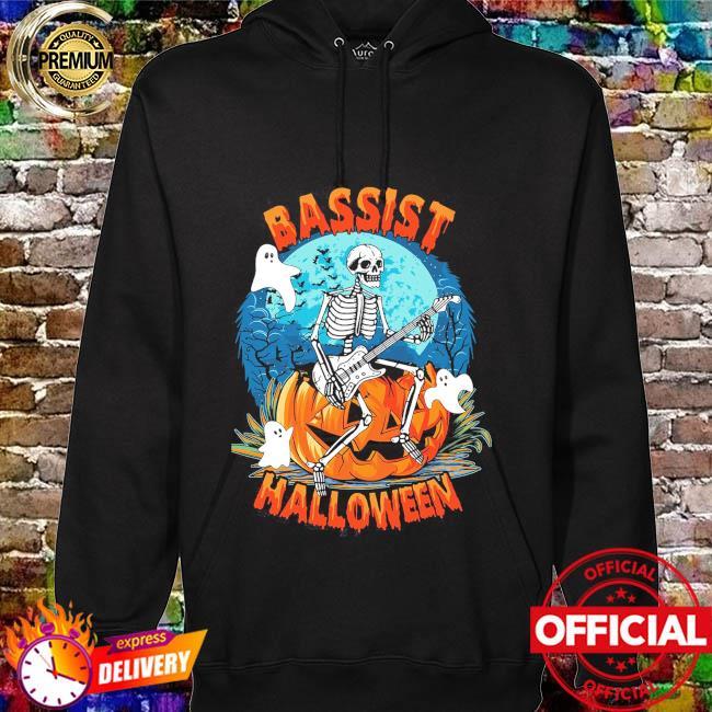 Skeleton Playing Guitar Bassist Halloween hoodie