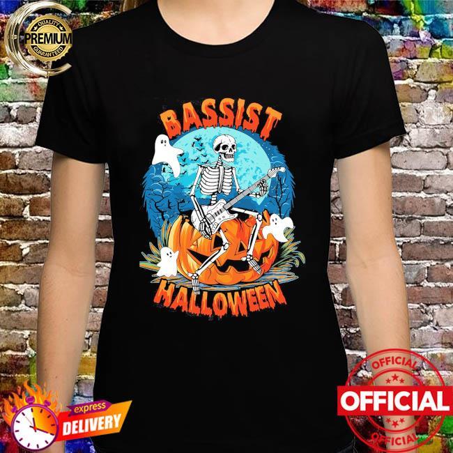 Skeleton Playing Guitar Bassist Halloween shirt