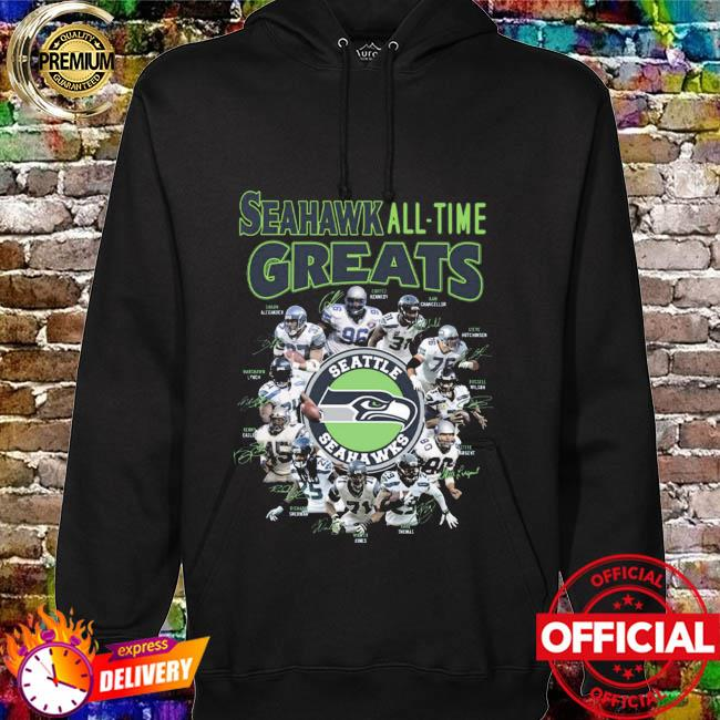 The Seattle Seahawks Football Teams Seahawk All Time Greats Signatures Shirt hoodie